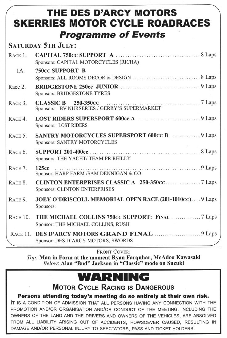 Program of events for 2003